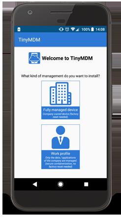 Choose management method TinyMDM