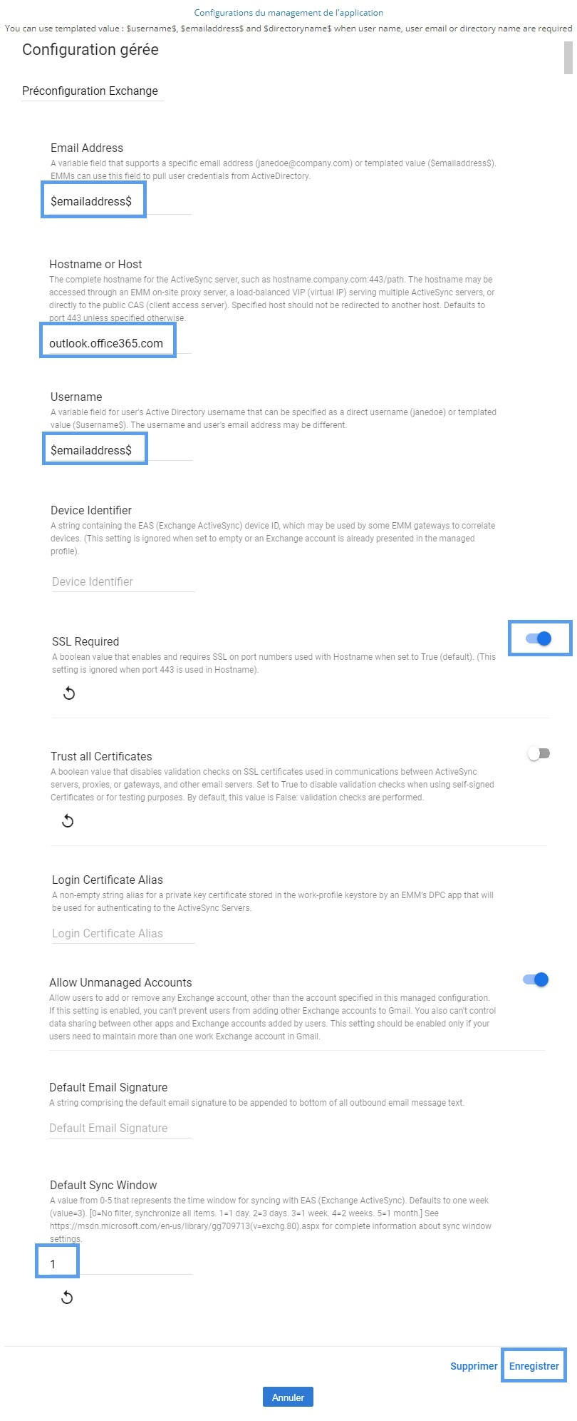How to preconfigure Exchange account on Gmail - Help resources