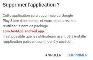 supprimer application privee