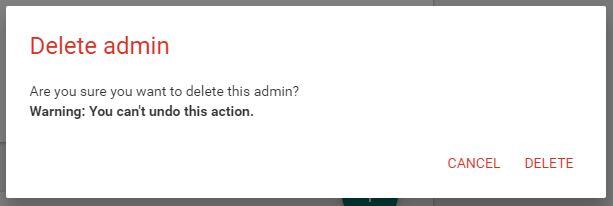 delete admin
